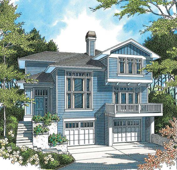 Hillside House Plans With Garage Underneath  Hillside - House design with garage underneath