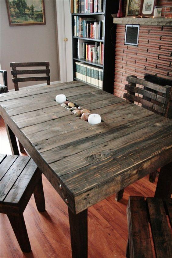 Table palette objet et meuble en palette palette for Table cuisine palette