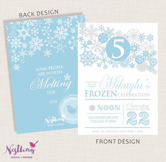 Frozen Inspired Snowflake Invitation Set // by NestlingDesigns