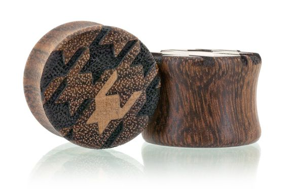 Houndstooth Pattern Wood Plugs Gauges from Omerica Organic. Use Rep Code SWEETLE at checkout for 20% off your first purchase!