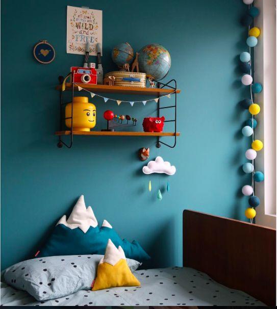 Kinderkamer petrol geel blauw Idée couleur tête de lit chambre ...