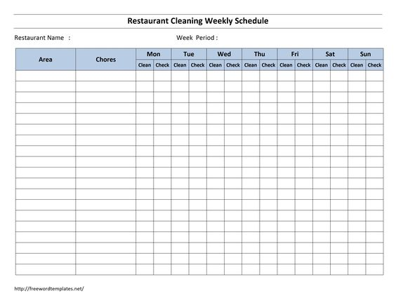 Free Cleaning Schedule Forms – Pay Roll Format