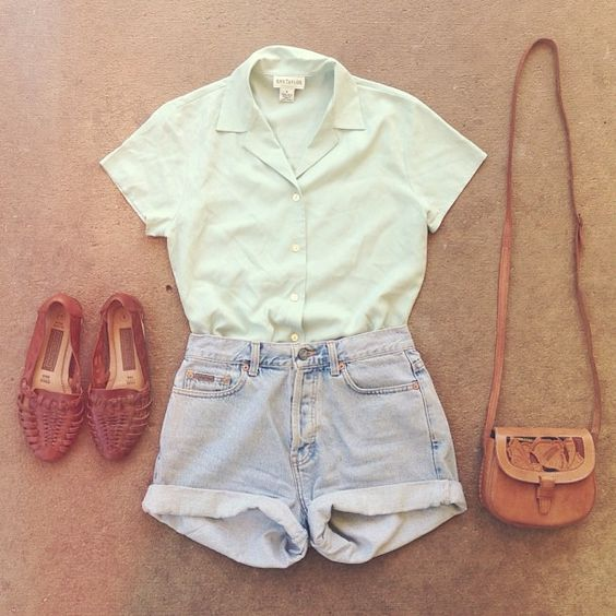 Kinda hate the shoes, but similar ones would be nice. High-waisted shorts, crossbody bag, white collared shirt.