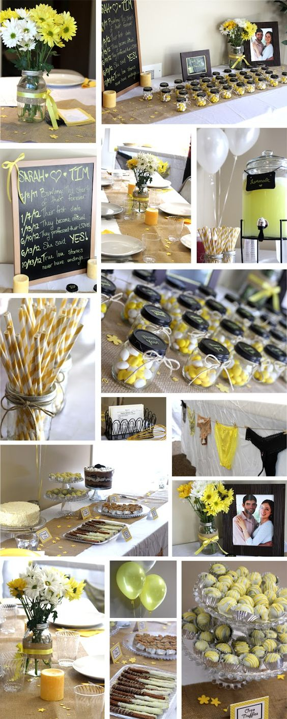 Yellow, white & burlap Country themed Bridal Shower
