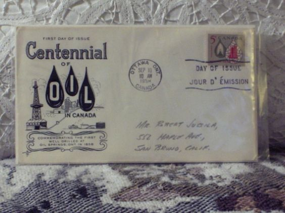http://ajunkeeshoppe.blogspot.com/  First Day Issue/Cover-Stamp-Canada Centennial of Oil 1958 8ozP724B4HP1172