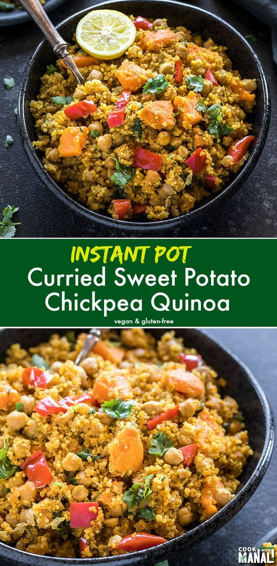 Instant Pot Curried Sweet Potato Chickpea Quinoa - healthy, vegan and gluten-free meal made in the Instant Pot in 30 minutes or less! Great for lunch, meal-prep and to pack in lunch boxes! #vegan #instantpot #quinoa #glutenfree