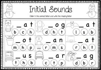 winter cvc freebie two worksheets focusing on initial and final sounds in cvc words great for. Black Bedroom Furniture Sets. Home Design Ideas