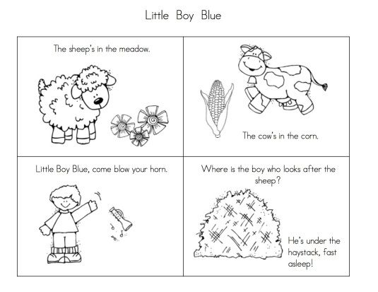 Little Boy Blue, Humpty Dumpty, and Mary Had a Little Lamb sequencing