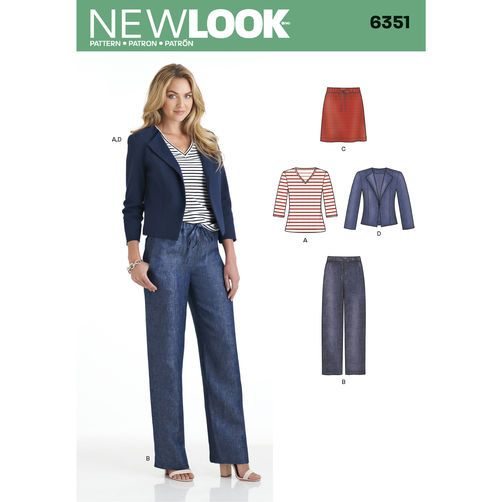New Look Pattern 6351 Misses' Jacket, Pants, Skirt and Knit Top: