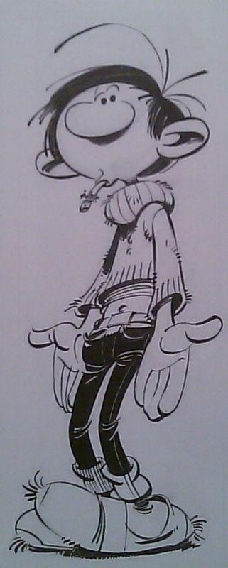 Illustration et couverture Gaston Lagaffe par Franquin by André Franquin - original comic art