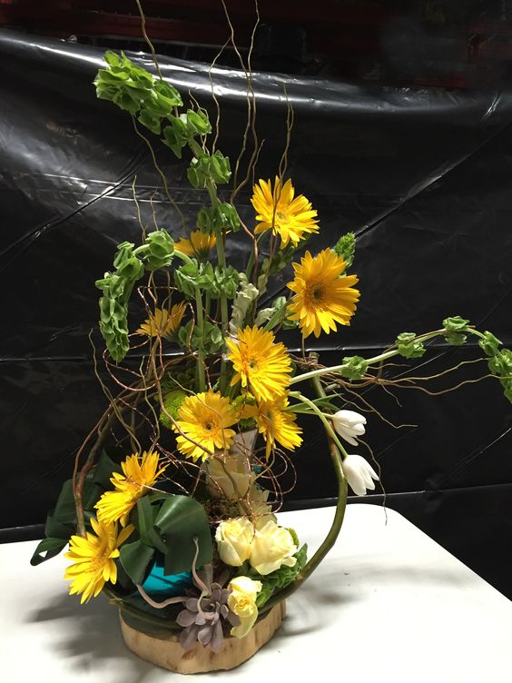 Arrangement made from a surprise package of flowers dry