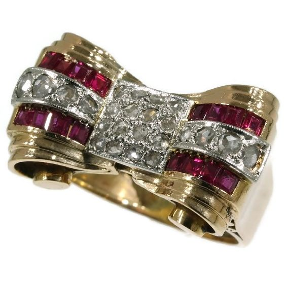 Typical bi-color gold estate Retro ring with rubies and rose cut diamonds