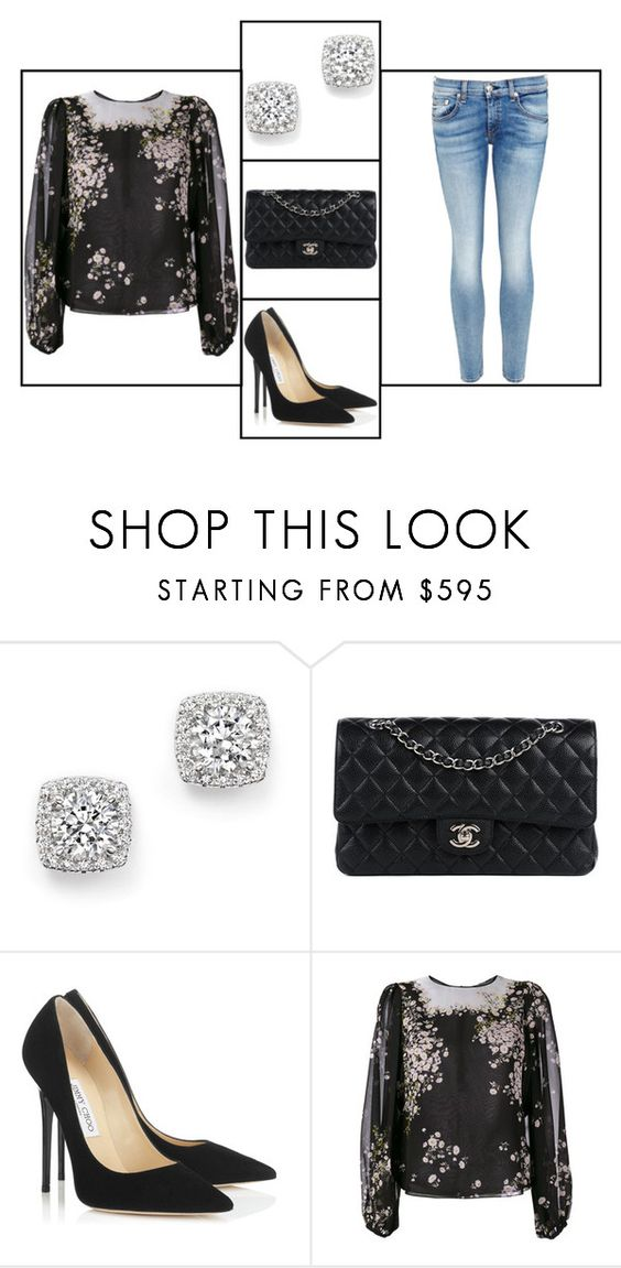 """Outfit # 3050"" by miriam83 ❤ liked on Polyvore featuring Bloomingdale's, Chanel, Jimmy Choo, Giambattista Valli and rag & bone/JEAN"