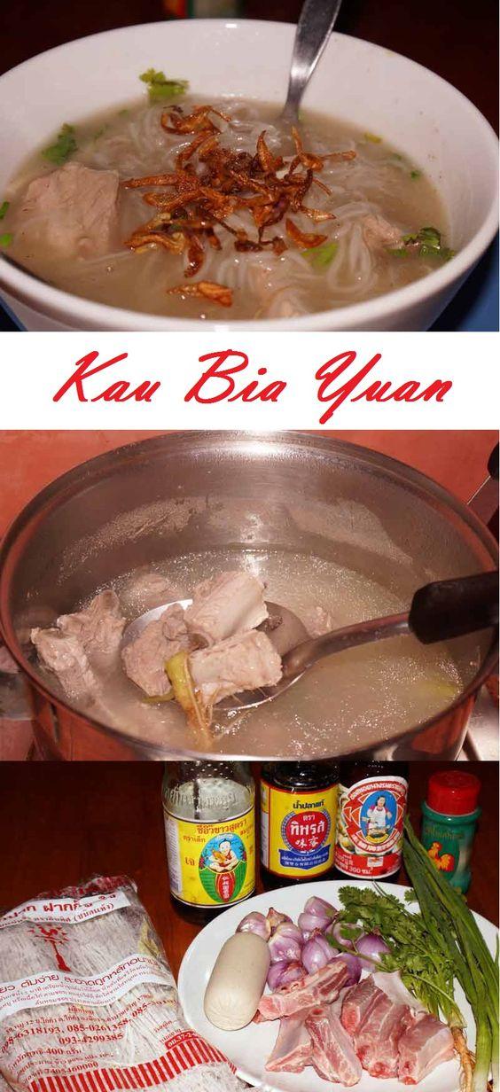 Kau Bia Yuan - Thai Suppe mit Reisnudeln und Schweinerippchen #Thai #ThaiFood #Rezept
