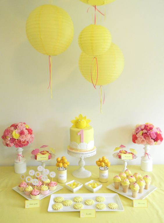 Sunshine birthday party. # yellow, pink and white dessert table