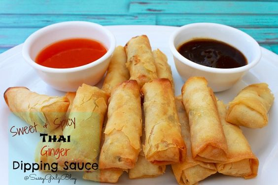 Spring roll dipping sauce, Thai spring rolls and Spring rolls on ...