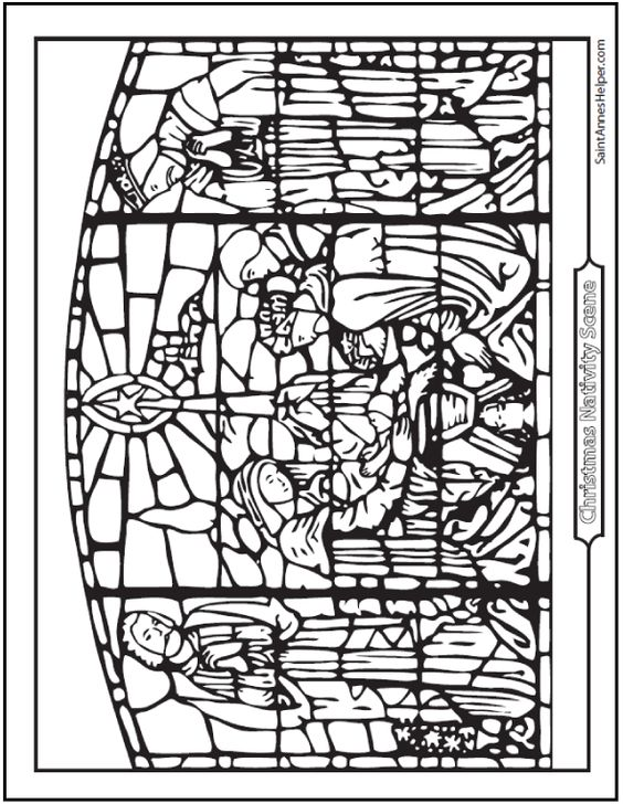 stained glass coloring pages christmas - photo#15