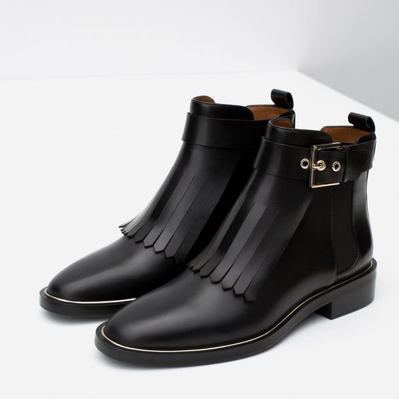 BOTTINES EN CUIR ET À FRANGES , Chaussures , Femme , COLLECTION AW15