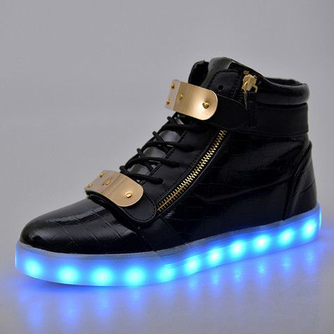 Fashion 7 Colors Men LED Shoes High Top Casual Glowing Luminous USB Charging Light Up Shoes For Women Trainers Superstar Basket