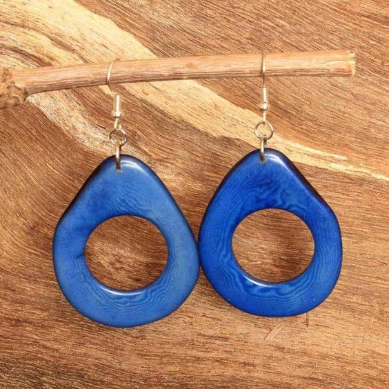 Dark Blue Earrings  Tagua  Fair Trade by ArtisansintheAndes