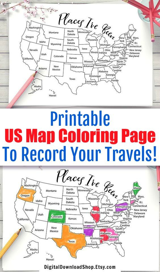Places I Ve Been Map Coloring Page Printable Usa Map Coloring
