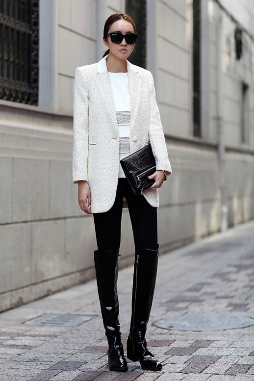 STYLE TROVE STREET STYLE MINIMAL LOOKS   WHITE BLAZER GREY STRIPED TOP METALLIC PATENT BLACK CROC CLUTCH ZIPPER PATENT BLACK KNEE HIGH RIDING BOOTS BLACK SUNGLASSES