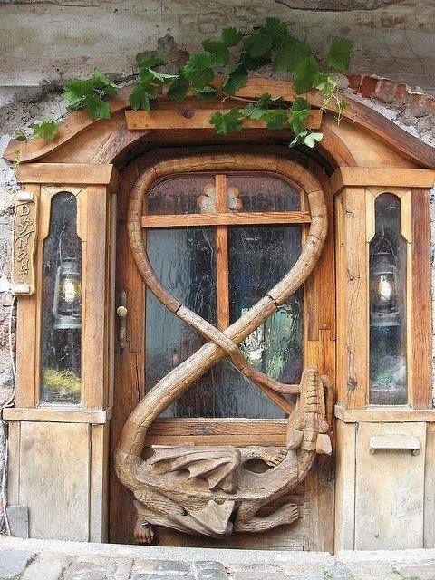 A magnificent Dragon Door at Krumlov House ....