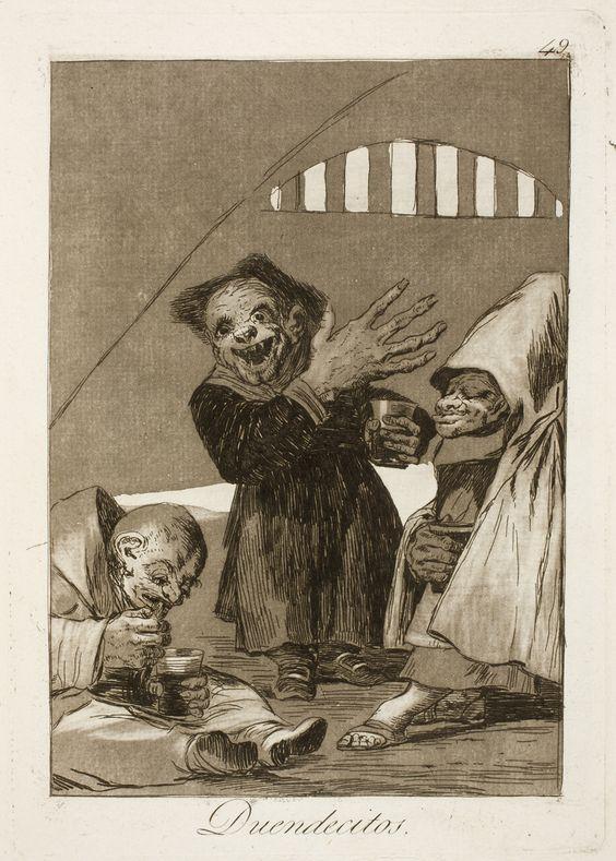 """Francisco de Goya: """"Duendecitos"""". Serie """"Los caprichos"""" [49]. Etching and aquatint on paper, 214 x 151 mm, 1797-99. Museo Nacional del Prado, Madrid, Spain"""