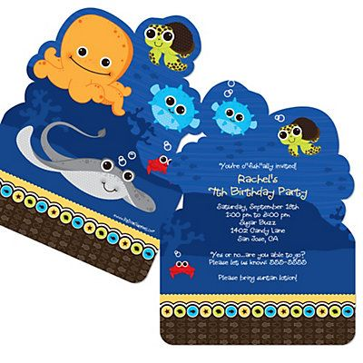 Under The Sea Critters - Shaped Birthday Party Invitations | BigDotOfHappiness.com