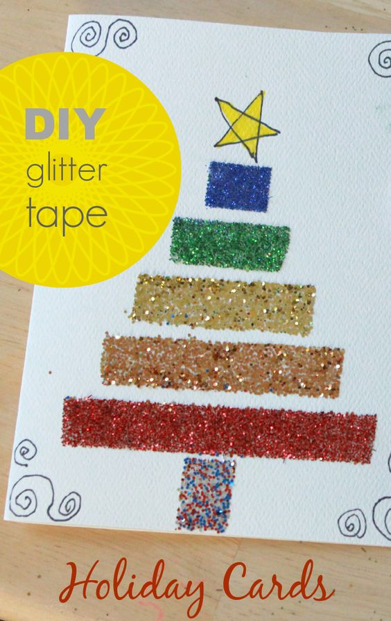 Make these simple handmade Christmas cards with a DIY glitter tape technique. Sparkly and festive! These cards are easy for the whole family to make.