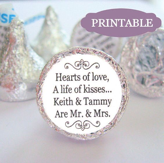 PRINTABLE Mr and Mrs Kisses Stickers Labels DIY Kiss Wedding ...