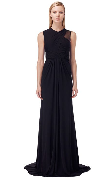Draped Chiffon And Jersey Gown With Tulle Cutout by Prabal Gurung for Preorder on Moda Operandi