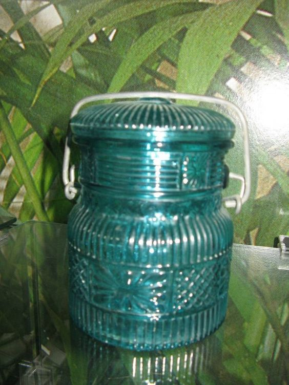 VINTAGE 1970'S AVON BLUE GLASS CANNING JAR WITH WIRE CLOSURE