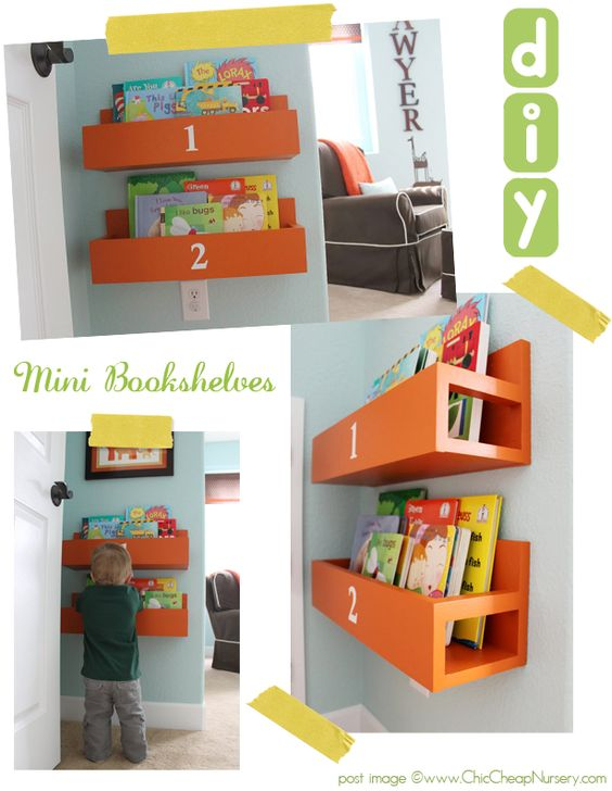 diy bookshelves ... this would be a great way of storing the library books so they are separate from the rest of the books!