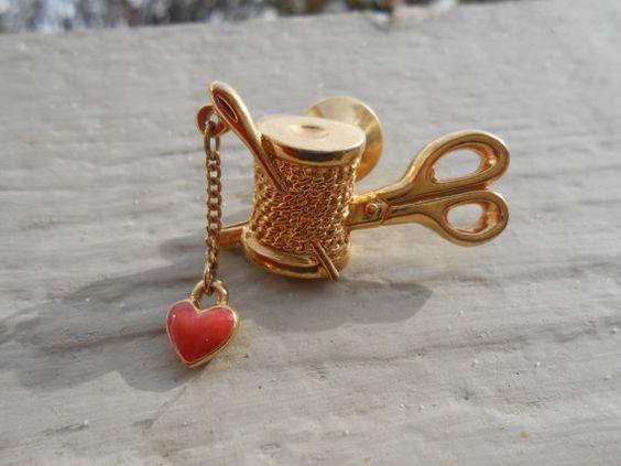 Vintage Sewing Pin. Needle Thread Scissors Heart. by TreeTownPaper
