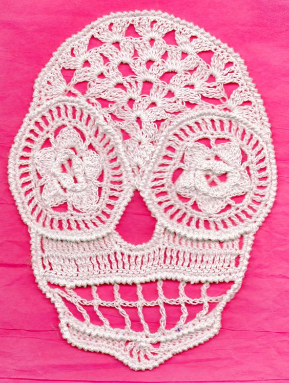 Extra Large White Lace Crochet Day of The Dead Sugar Skull ...