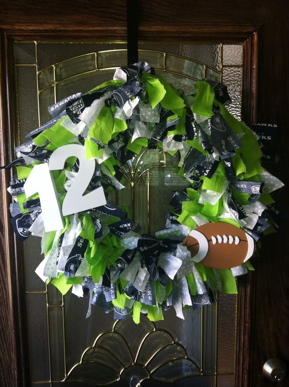 Seahawks 12th man wreath!!!!  Wouldn't that be cool with school colors & your players # ???