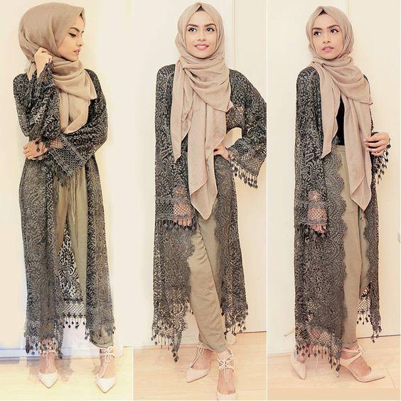 Loving This Lace Kimono From Ootd Lace Kimono Khaki Hijabstyle Hijabfashion
