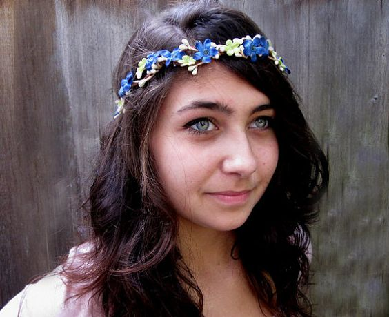 Flower Crown  Saphire Lime & White Berry Hair by BloomDesignStudio, $28.00
