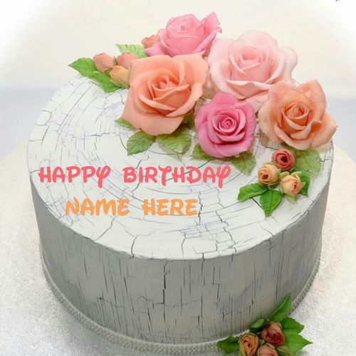 Write Name On Rose Flower Birthday Cake Flower Decorated Creative Birthday Cake With Cartoon Birthday Cake Birthday Cake With Flowers Birthday Cake For Father