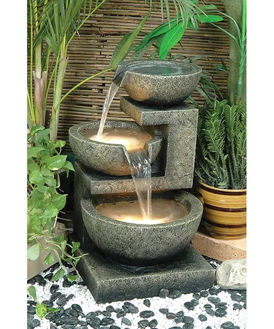 Alfresco Home Resin Rocca Outdoor Tiered Fountain with Light & Reviews | Wayfair