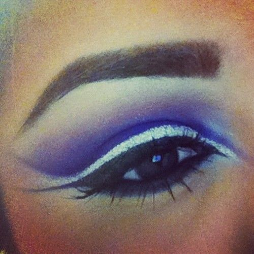 Fun crazy purple and silver eye. Never thought these colors would go well together, but they do!