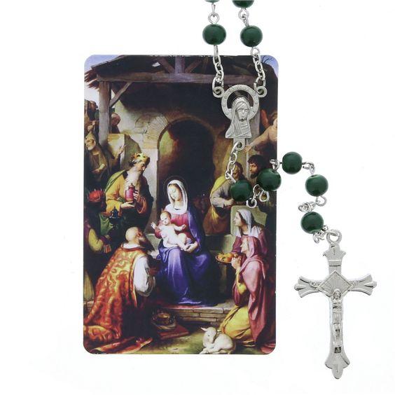 Christmas Novena Card with Green Rosary,  $12.95.