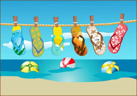 Grab This Free Summer Clipart and Celebrate: Flip Flops Hanging On A Line: