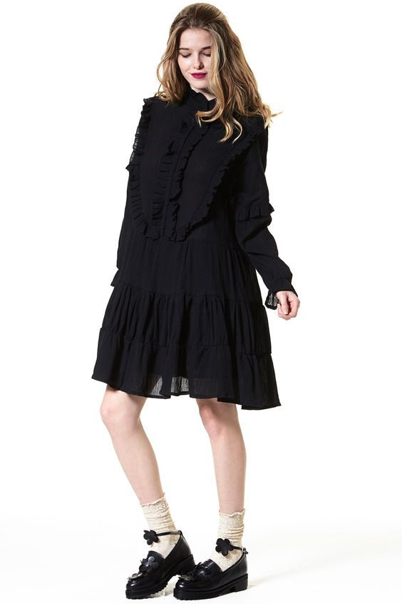 Ruffle A Lot Shift Dress in Black - storets.com