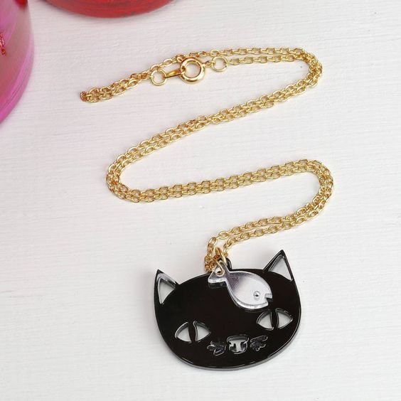 'Catnap' Black Cat Necklace
