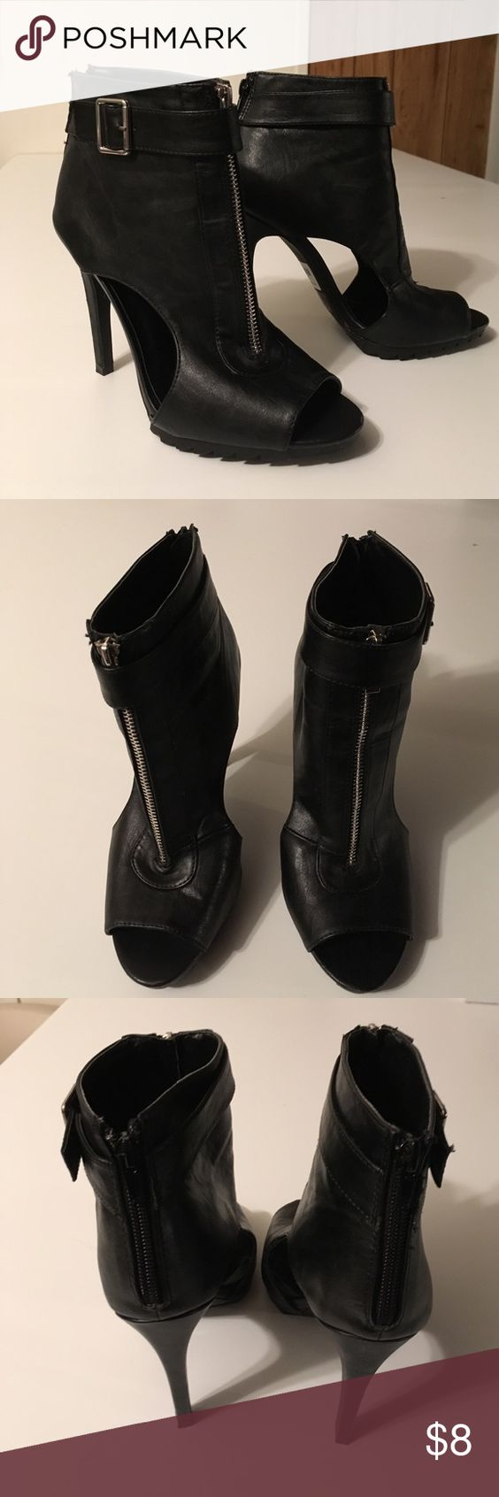 Charlotte Russe Heels Price sticker says Style Liya 18X BLK. Black heel with zipper in front and back. Open toe. Only wore once. Charlotte Russe Shoes Heels