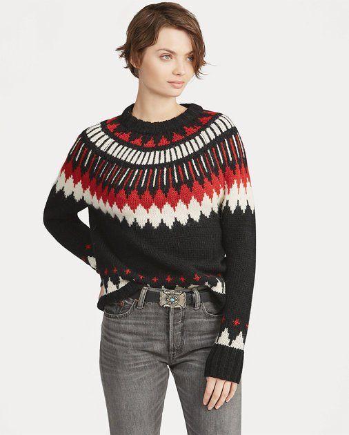 Polo Ralph Lauren Womens Black Geometric Cotton Crewneck Sweate