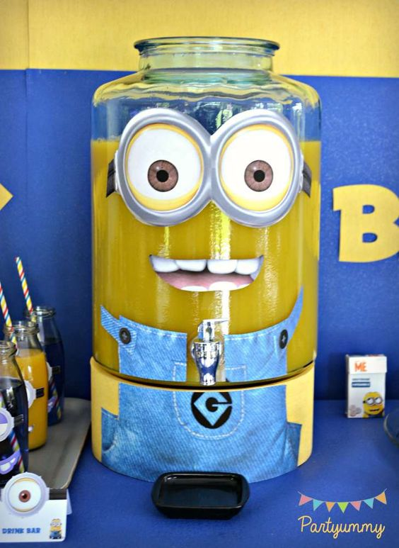 Drinks at a Despicable Me Minions birthday party! See more party ideas at CatchMyParty.com!