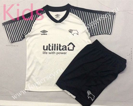2019 2020 Derby County Home White Kids Youth Soccer Uniform Ay Soccer Uniforms Youth Soccer Derby County